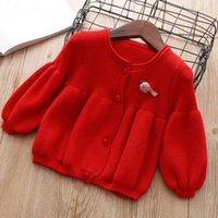 kinder rote strickjacke groihandel-neue Art und Weise gestrickte Strickjackewolljacke für Mädchenherbstfrühling rosa rote Winter scherzt beiläufige Kleidung 0-5Jahre Kinderstrickjacken