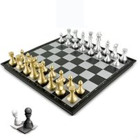 Wholesale international chess - Magnetic Gold And Silver Chess Toy Large Practical And Convenient Folding Checkerboard Special For Student Competition 29 5xf W