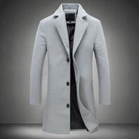 x erkek giyim toptan satış-MRMT 2018 Marka erkek Ceketler Uzun Düz Renk Tek Göğüslü Trençkot Erkek Ceket Dış Giyim için Rahat Palto Giyim