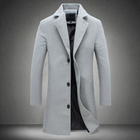 длинное пальто оптовых-MRMT 2018  Men's Jackets Long Solid Color Single-breasted Trench Coat Casual Overcoat for Male Jacket Outer Wear Clothing