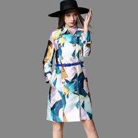 amerikanische mäntel weiblich großhandel-European American High-End-Marke Windjacke Mantel Frauen 2018 Herbst Winter Print Zweireiher Jacke weiblich Casual Oberbekleidung