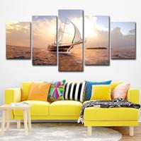 ingrosso vernici barche a vela-HD Stampe Immagini Modulari Canvas Wall Art 5 Pezzi Sunset Sailboat Seascape Dipinti Home Decor Boat Sailing Posters