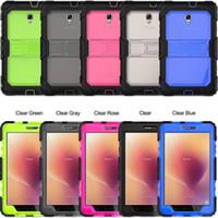 colores de la pestaña galaxia al por mayor-Claro Kickstand Defender Funda para Samsung Galaxy Tab A 8.0 T385 T380 Dual Colors Tres capas W / correa trasera dura