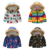 Wholesale american girl car online - Baby Boy girls Thickening Floral Outwear dinosaur car Flower Print Down Coat Kids Winter Clothes Boutique Hooded Jacket colors C5407
