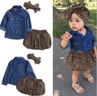 ropa de niña de leopardo infantil al por mayor-Bebé recién nacido ropa de bebé niñas conjunto denim camiseta + leopardo impresión falda + venda de leopardo 3 unids / set trajes niño ropa