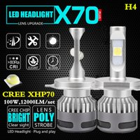 Wholesale 1Set built in EMC Cree XHP70 LED Headlight Kit car Bulbs HB3 H4 H7 H8 H9 H11 W LM K lighting headlamp fog lamp