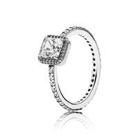 encantos de plata pura 925 al por mayor-Anillo de la elegancia intemporal con Clear CZ Pure 925 Sterling Silver Original Pan Ring para mujeres DIY encanto de la joyería del regalo