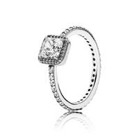 matrículas invisibles al por mayor-Anillo de la elegancia intemporal con Clear CZ Pure 925 Sterling Silver Original Pan Ring para mujeres DIY encanto de la joyería del regalo