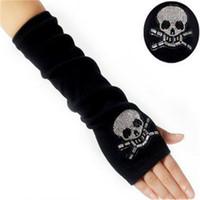 ingrosso guanti di braccio nero-Guanto invernale Braccio da polso Scaldamani a maglia Guanti lunghi senza dita Guanti neri Guanto