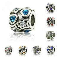 Wholesale Bead Charm Hollow White Flower With Blue crystal Beads Fit Women Charm Bracelet Bangle DIY Jewelry Beads