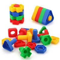 jogo de construção venda por atacado-Jumbo Porcas e Parafusos Fine Motor Skills Montessori Brinquedos Building Blocks Construction Game Matching - 495g