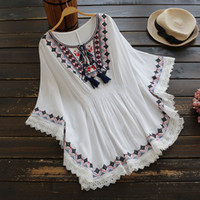 Wholesale Embroidery Cotton Dress For Women - Spring summer Dresses for women Embroidery o neck National style shirt drese Cotton White and blue colors