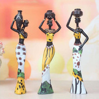 Wholesale Sculpture Decoration - 3Pcs Retro African Lady With Vase Ornament Ethnic Statue Sculptures National Culture Figurine Home Decor Art Crafts Gifts