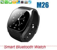reproductor de música para niños al por mayor-Smart Bluetooth Watch Smartwatch M26 con pantalla LED Alómetro y barómetro Podómetro del reproductor de música para Android IOS Teléfono móvil con minorista
