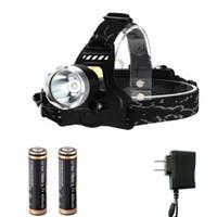 yüksek güçlü far şarj cihazı toptan satış-Toptan 1800 Lümen XML T6 Yüksek Güç LED Far Far El Feneri Torch 2 Modu ile 2 Modu 18650 Piller Şarj setleri
