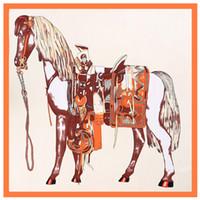 animales naranja al por mayor-Paris Brand Square Women H Horse Print Scarf Animal de lujo Chales Womens Seda de seda Foulard Femme Large Orange Scarfs 110 * 110