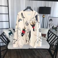 suéteres de flores para mujer al por mayor-2019 Nuevo diseñador Marfil Graffiti Cardigans para mujer Moda de lujo Mangas largas Visón suéteres de cachemira para mujer 92839170
