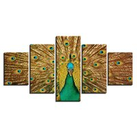 Wholesale peacock paintings piece for sale - Group buy Canvas Wall Art Painting Pieces Unframed Oil Painting Living Room Decor Animal Modular Peacock Its Tail Green Gold HD Print Pictures