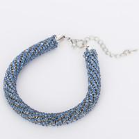 новый австрийский кристаллический браслет оптовых-Fashion  Charm christmas gift Hot Sell Round New Design Austrian Crystal weaving bracelets jewelry for women #B062