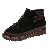 suela de bota femenina al por mayor-Botas de viento británicas para mujer de color suela gruesa colorblock Brock plana Martin Boot zapatos de mujer zapatos de invierno Botas Mujer