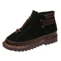 сапоги женские оптовых-Британские ветрозащитные сапоги женские на толстой подошве с цветными блоками Brock flat Martin Boot Женская обувь Женская зимняя обувь Botas Mujer