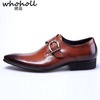 zapatos de cuero marrón para hombres al por mayor-Zapatos de vestir de los hombres de moda punta estrecha con cordones de los hombres de negocios zapatos casuales de cuero negro marrón Oxford para hombres tamaño grande 38-48