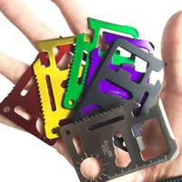 equipamento de vida venda por atacado-Mini Bolso De Aço Inoxidável Carteira Cartão De Crédito Faca 11 Em 1 Multi Ferramentas De Caminhada Caça Camping Sobrevivência Ao Ar Livre Engrenagem Vida Poupança