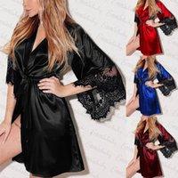 ingrosso abito di raso di merletto di kimono-2018 Nuove donne Pizzo Floreale Kimono Veste lunga Camicie da notte in raso di seta Tinta unita Camicie da notte Vesti