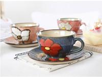 Wholesale european tea sets - Luxury Drinkware 3 pcs European Ceramic Tea Set Porcelain coffee set Coffee Pot Coffee Jug Cup Saucer set CT24