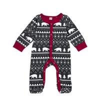 ropa de bebé de navidad osos al por mayor-Baby Christmas Tree Jumpsuit Bear Boys Diseñador de ropa de impresión Trigonometric Tree Circle triángulo de rayas Diamond Newborn Clothing Sets 3-1