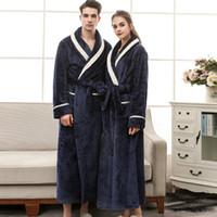 9b9a507508 hotel bathrobe Australia - Women Winter Bathrobes Men Sleepcoats Soft Warm  Nighty With Pockets Hotel Robes