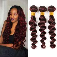 gevşek atkı saç uzantısı toptan satış-Kırmızı Şarap Brezilyalı Gevşek Dalga 4 Demetleri Insan Saçı Brezilyalı Bakire Saç Uzantıları İnsan Saç Bordo Dalga Bahar Kıvırcık Atkı Dikmek
