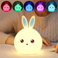 bebekler için gecelik hafif oyuncaklar toptan satış-Yeni stil Tavşan Çocuk Bebek Çocuklar Için LED Gece Lambası Başucu Lambası Renkli Silikon Dokunmatik Sensör Dokunun Kontrol Nightlight ço ...