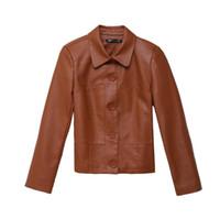 элегантная женская кожаная куртка оптовых-Women Elegant Faux Leather Biker Jacket in Brown Black Slim Ladies Coat Casual  Motorcycle Leather Coat