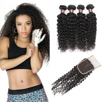 Wholesale brazilian human hair cheap prices online - Cheap A Brazilian Curly Wave With Closure Peruvian Hair Bundles With Closure Malaysian Curly Wave Human Hair Extensions Price