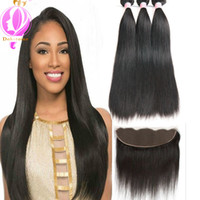 Wholesale Brazilian Extensions Prices - Brazilian Virgin Human Hair 3 Bundles With 13 x 4 Lace Frontal Straight Wave Weft 100% Human Hair Extensions Natural Color Wholesale price