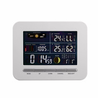 digitaler temperaturfeuchtigkeitsmonitor großhandel-Wireless Digital Wettervorhersage Wetterstation Uhr Fernsensor Indoor Outdoor Temperatur Luftfeuchtigkeit Monitor Wecker 2018 Hot