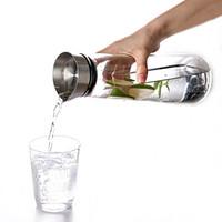 ingrosso pentola fredda-1 litro di teiera in vetro trasparente succhi pentola coperchio in acciaio inox bottiglia di bevande calda acqua fredda bollitore grande capacità di campeggio esterna nna583