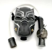 mascarillas de acrilico al por mayor-Máscara de gas que fuma la pipa de agua de Bong Pantera negra Máscara de gas acrílica Dab Rig con la pipa de tubo recta en la acción