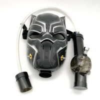 ingrosso tubo acrilico nero-Maschera antigas fumante Bong Pipa nera Maschera antigas pantera nera Dab Rig con tubo dritto Narghilè Disponibile