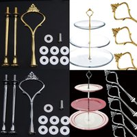 Wholesale plastic cake plates - Bakeware Tools 5 Set of 3 Tier Stand Cake Holder Three Layers Crown Metal Cake Plate Kitchen Bakeware Tools