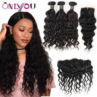 Wholesale deals hair weave bundles online - Unprocessed Brazilian Virgin Hair Bundle Deals Water Wave Human Hair with Closure Natural Wave Hair Bundles with Lace Frontal Weaves Closure