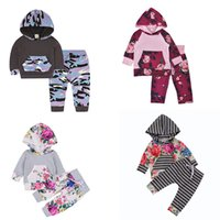 Wholesale Camouflage Girl Clothing - Baby girls Floral outfits children Camouflage Flowers print Hooded top+pants 2pcs set 2018 new Boutique kids Clothing Sets C3644