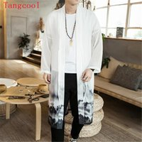 Wholesale men long trench coat patterns - Large size 5XL Mens Long Length Jacket Coat Man Chiffon Trench Vintage Splash Ink 3D Print Windbreaker