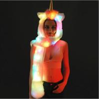 Wholesale lady mittens resale online - LED Unicorn Beanies Women Hat Winter Warm Cap Girls Unicorn Children Faux Fur Hood Shaggy Ladies Winter Scarf Mittens CCA10316