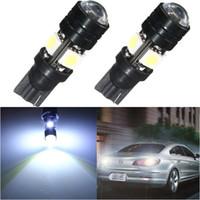 лучшие цены светодиодные лампы оптовых-10X Лучшая цена T10 W5W 194 168 4 LED 5050 SMD авто источник света Клин боковой лампы парковка лампы с объективом DC12V