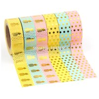 Wholesale washi tape online - X Foil washi Tape Flower pineapple dot strip Decorative Washi Tape DIY Scrapbooking Masking Tape