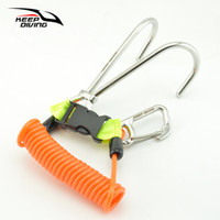Wholesale quick release hooks - 316 Stainless Steel Double Reef Hook with Spiral Coil Lanyard & Quick-release Buckle & O-ring Scuba Diving BCD Safe Equipment