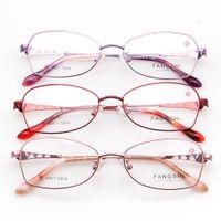 marcos de lentes titanium purple mujeres al por mayor-Gafas de moda Gafas Mujeres Anteojos Fullrim Marco Rosa Púrpura Rojo Aleado Gafas de titanio Optical RX Lentes Lindo