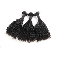 cabello natural mojado al por mayor-Brazilain Fumi cabello humano mojado y ondulado rizo 8-20inch extensiones de cabello virgen africana Fumi agua onda rizado color natural